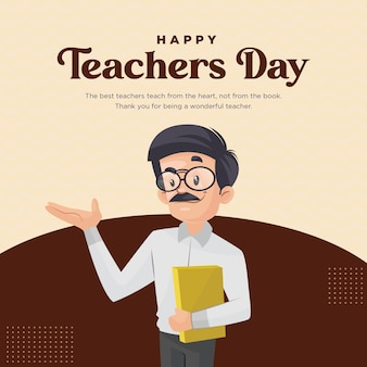 Gelukkig lerarendag banner ontwerpsjabloon
