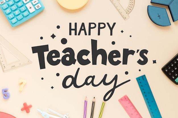 Gelukkig lerarendag belettering ontwerp