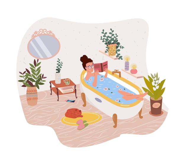 Gelukkig leuke vrouw meisje liggend in badkuip en leesboek platte vectorillustratie vrouwelijke stripfiguur nemen bad en ontspannen ontspanning spa meditatie ontspannen recreatie gezonde levensstijl