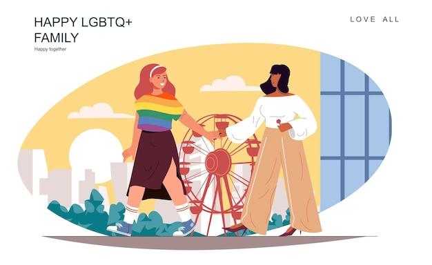 Gelukkig lgbt-familieconcept liefdevolle vrouwen die in het pretpark lopen, brengen samen tijd door