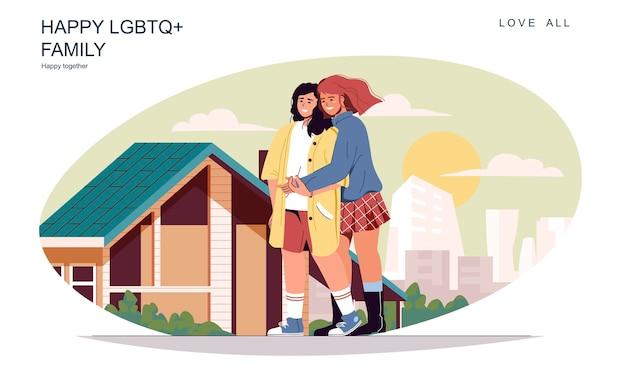 Gelukkig lgbt-familieconcept liefdevolle vrouwen die op straat lopen, knuffelen en communiceren