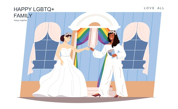 Gelukkig lgbt-familieconcept liefdevolle vrouwen trouwen in witte trouwjurk en pakceremonie
