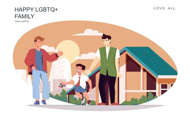 Gelukkig lgbt-familieconcept mannelijke vaders met zoon die op straat lopen en tijdverdrijf samen thuis