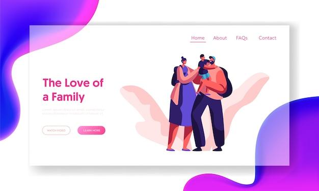 Gelukkig liefdevolle familie samen bestemmingspagina. bovenliggende karakter met rugzakwebsite of webpagina. glimlachende vader houdt zoontje vast. man en vrouw knuffelen jongenskind. platte cartoon vectorillustratie