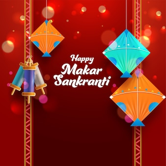 Gelukkig makar sankranti-lettertype met kleurrijke vliegers