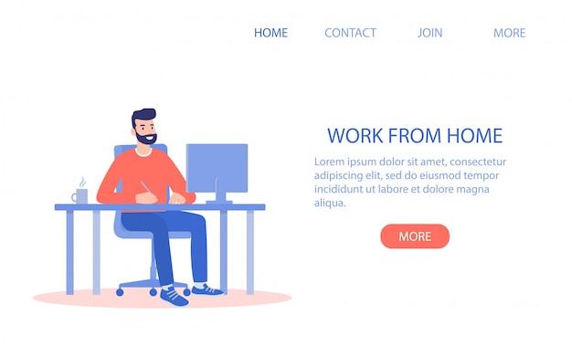 Gelukkig man aan het werk vanuit huis op de computer