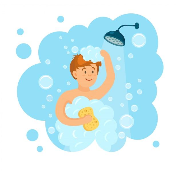 Gelukkig man die douche in de badkamer. was hoofd en haar met shampoo, zeep, spons, water, schuim. glimlachkarakter op achtergrond. tekenfilm