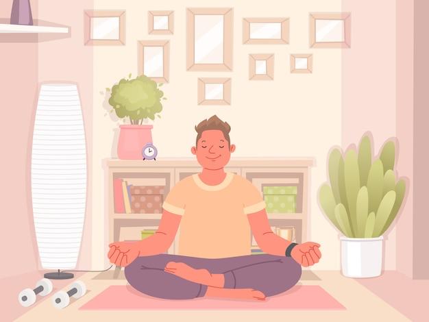Gelukkig man doet yoga thuis. meditatie en een gezonde levensstijl tijdens quarantaine. vectorillustratie in een vlakke stijl