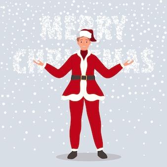 Gelukkig man dragen in santa claus kleding op sneeuw achtergrond vector illustratie in cartoon-stijl