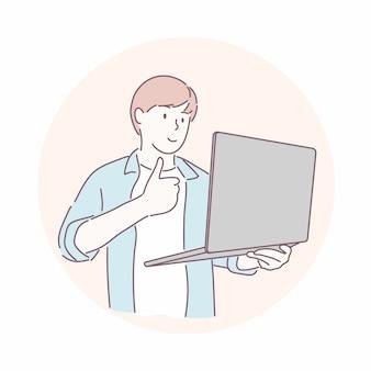 Gelukkig man duimen omhoog naar laptop. succes, blij, win concept.