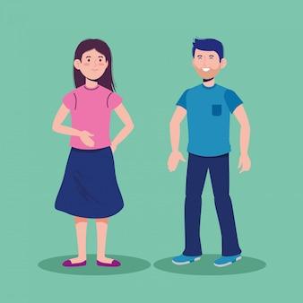 Gelukkig man en meisje praten met casual kleding