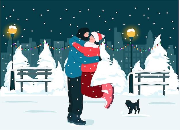Gelukkig man en vrouw, hond in een besneeuwd park, wandelen in de avond, winterrecreatie in de natuur.