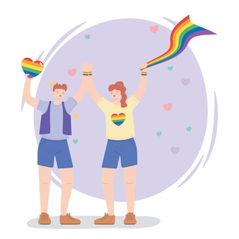 Gelukkig man en vrouw met regenboogvlag en hart