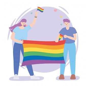Gelukkig man en vrouw met regenboogvlag