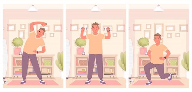 Gelukkig man houdt zich bezig met fitness en doet oefeningen thuis. een gezonde en actieve levensstijl in quarantaine handhaven. vectorillustratie in een vlakke stijl
