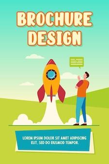 Gelukkig man kijken lancering van raket brochure sjabloon
