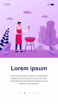 Gelukkig man koken barbecue vlees buitenshuis illustratie