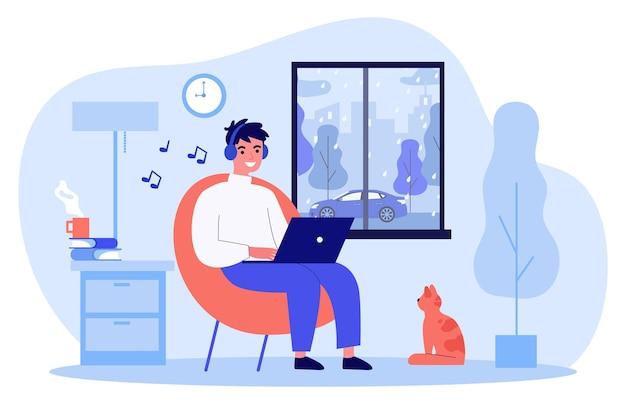 Gelukkig man luisteren muziek thuis op regenachtige dag vlakke afbeelding