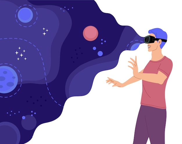 Gelukkig man met bril voor virtual reality verkent de ruimte