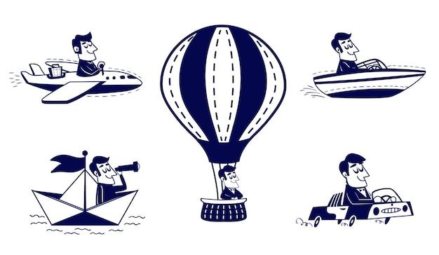Gelukkig man reizen per auto, vliegtuig, boot, papieren bootje, hete luchtballon