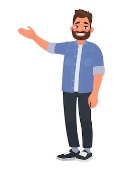 Gelukkig man wijst naar iets. karakter voor advertentie. guy toont een richting met een hand. in cartoon-stijl