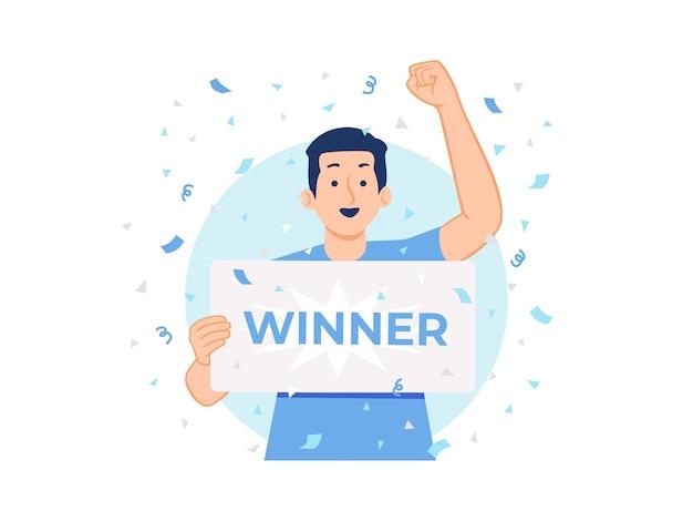 Gelukkig man winnen geld prijs bankcheque loterij jackpot coupon concept illustratie
