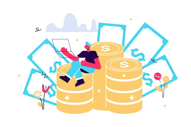 Gelukkig man zittend op munten en bankbiljetten met laptop. werk en baan succes concept.