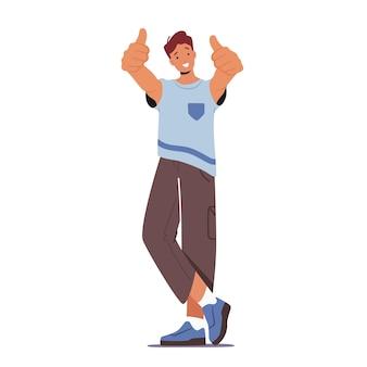 Gelukkig mannelijk personage toont duimen omhoog