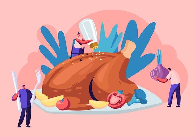 Gelukkig mannelijke en vrouwelijke personages koken enorme thanksgiving turkije smaakstof met groenten, specerijen en zout