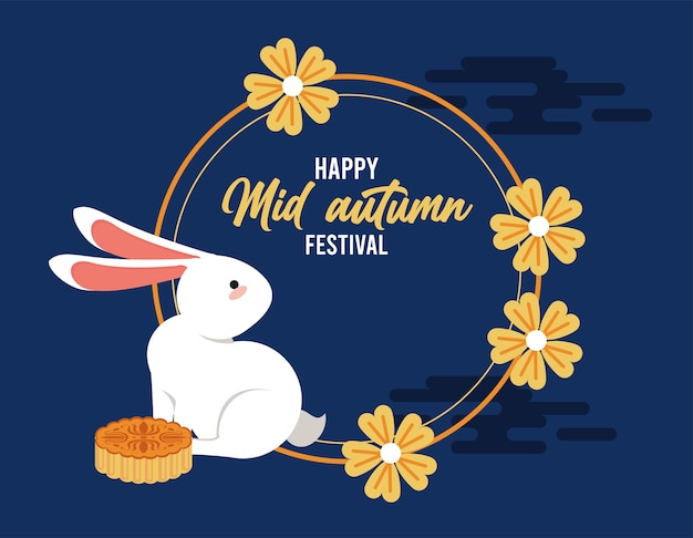 Gelukkig medio herfst belettering kaart met konijn en circulaire bloemenlijst.