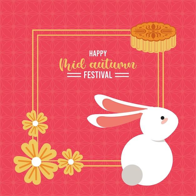 Gelukkig medio herfst belettering kaart met konijn en vierkante bloemenkader.