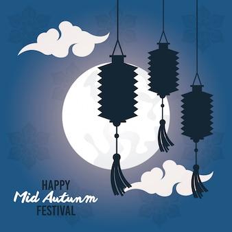 Gelukkig medio herfst festival kaart