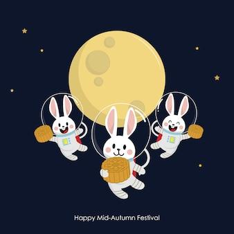 Gelukkig medio herfst festival wenskaart met schattige konijn en maancake.