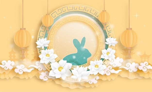 Gelukkig medio herfstfestival met konijn en volle maan. .