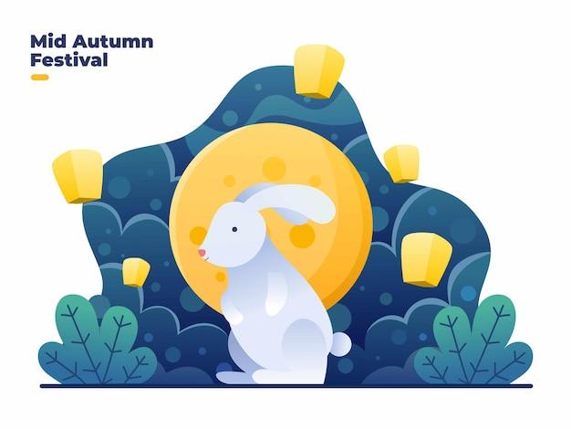 Gelukkig medio herfstfestival met schattige konijnen, mooie maan en vliegende lichte lantaarnillustratie