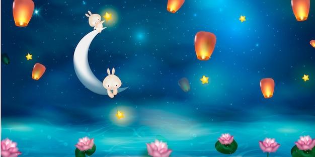 Gelukkig medio herfstfestivalontwerp met volle maan. konijnen op nacht achtergrond met prachtige volle maan.