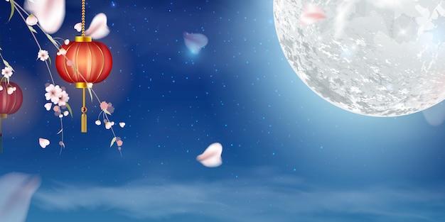 Gelukkig medio herfstfestivalontwerp met volle maan.