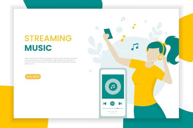 Gelukkig meisje dat aan streaming muziek luistert die een cellphoneillustratie gebruikt