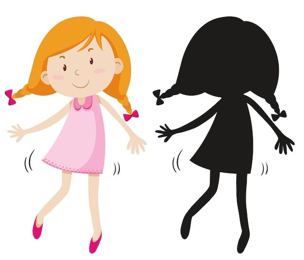 Gelukkig meisje dat leuke kleding met zijn silhouet draagt