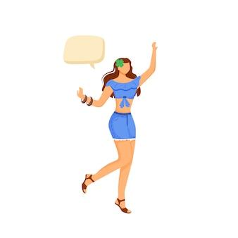 Gelukkig meisje egale kleur gezichtsloze karakter. vrolijke vrouw in beweging. vrouwelijke dans. persoon met tekstballon geïsoleerde cartoon illustratie voor web grafisch ontwerp en animatie