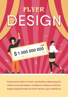 Gelukkig meisje en jongen die miljard aan contanten winnen, geldprijs krijgen, bankcheque vasthouden. platte sjabloon folder