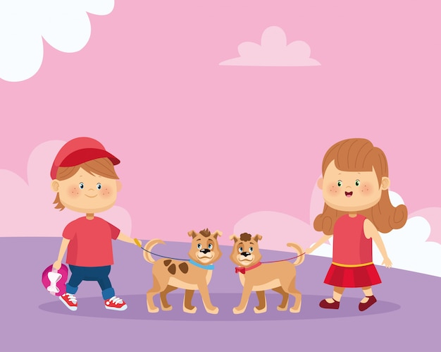 Gelukkig meisje en jongen met schattige honden