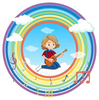 Gelukkig meisje gitaar spelen in regenboog ronde frame met melodie symbool