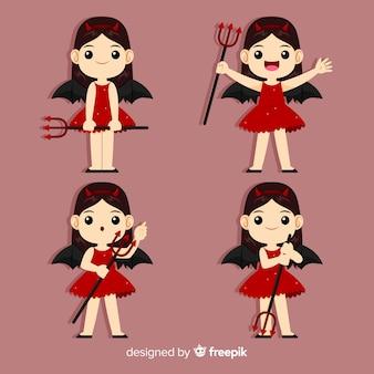 Gelukkig meisje in het kostuum van de duivel met vlak ontwerp