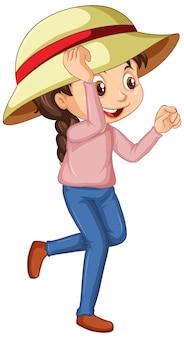Gelukkig meisje in roze shirt op wit