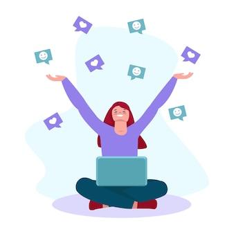 Gelukkig meisje met een laptop vangt met opgeheven handen glimlacht en houdt. social media netwerkconcept. vectorillustratie in platte cartoonstijl. geïsoleerd op een witte achtergrond.