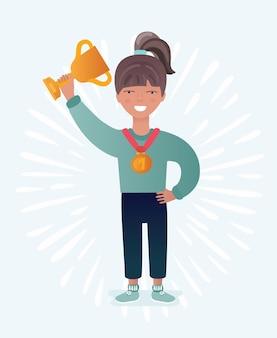 Gelukkig meisje met gouden trofee illustratie