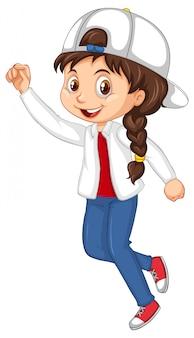Gelukkig meisje met grote glimlach springen