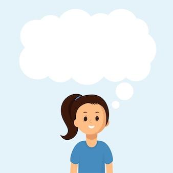 Gelukkig meisje met grote tekstballon, wolk. sociale communicatie