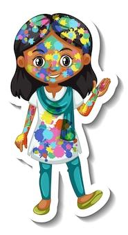 Gelukkig meisje met kleur op haar lichaam sticker op witte achtergrond